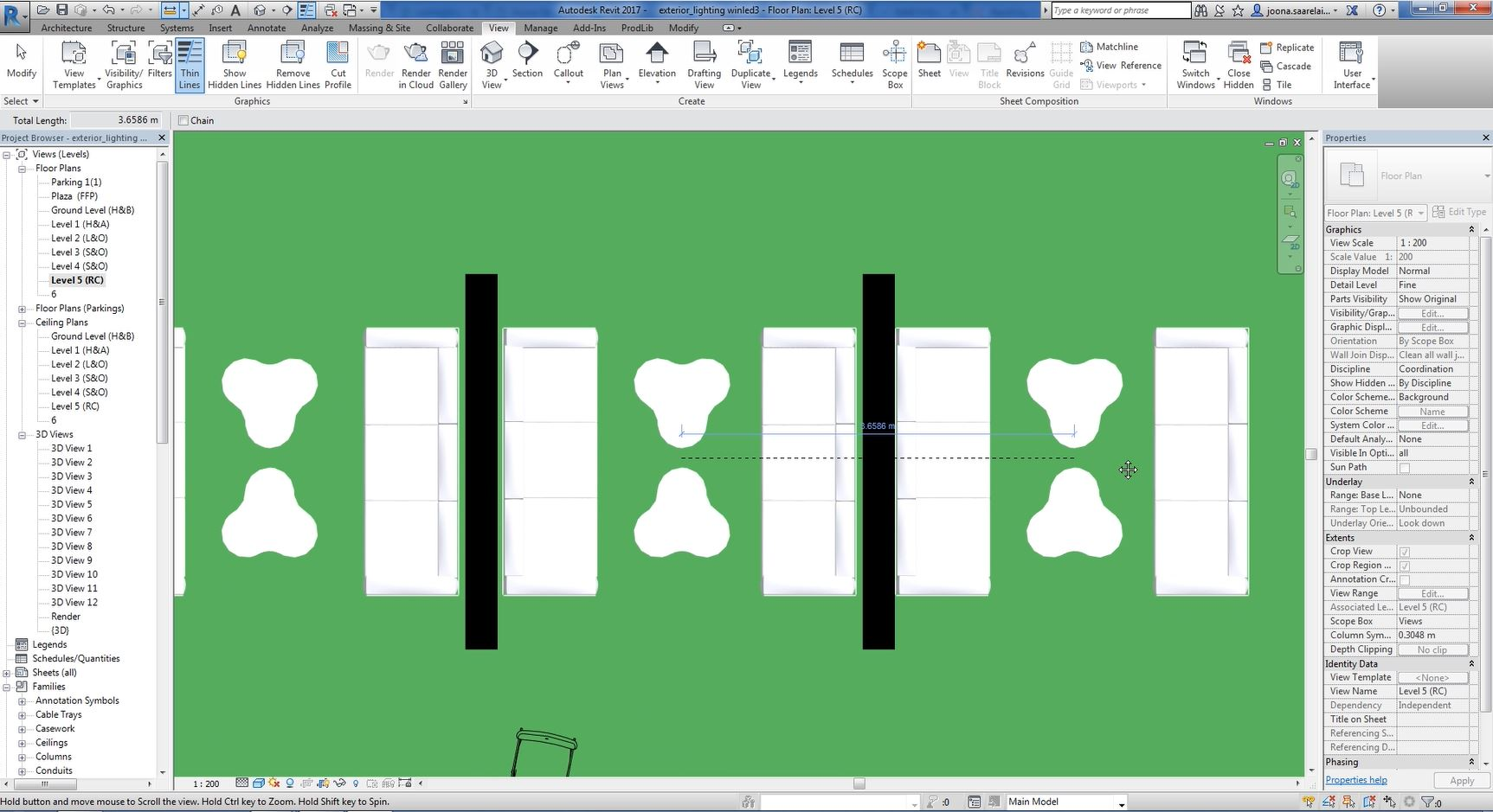 Revit Tutorial Caf And Restaurant Lighting Design Diagram Tool 9 First Use Measure Between Two References Measuring To Calculate A Perfect Spot Fixtures